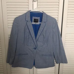 Blue and white textured blazer by The Limited